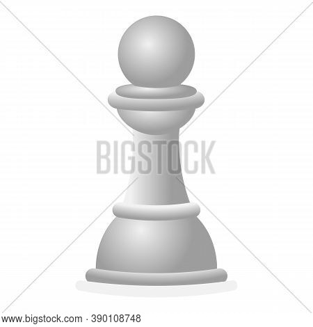 White Chess Pawn Icon. Cartoon Of White Chess Pawn Vector Icon For Web Design Isolated On White Back
