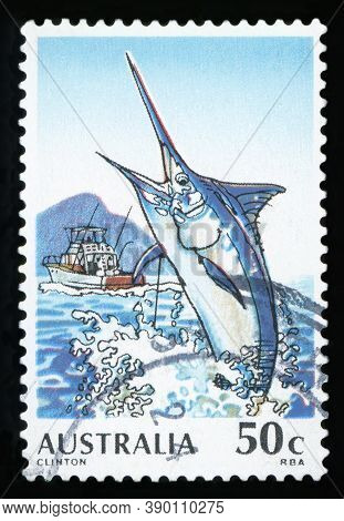 Australia - Circa 1992: Post Stamp Printed In Australia Shows Black Marlin (clinton) Jumping From Th