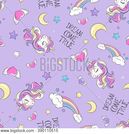 Art. Cute Unicorn Pattern. Little Dreamer. Fashion Illustration Print In Modern Style For Clothes Or