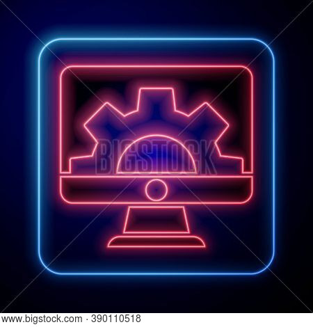 Glowing Neon Software, Web Development, Programming Concept Icon Isolated On Blue Background. Progra