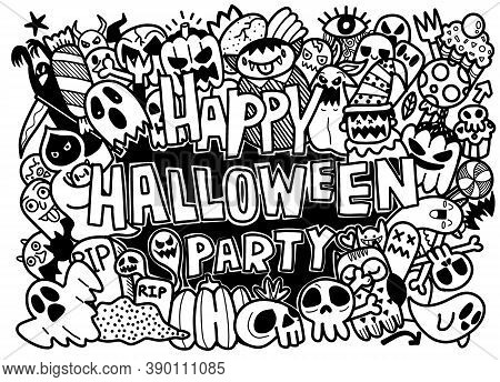 Vector Hand Drawn Doodle Cartoon Collection Set Of Funny Icon About The Halloween Day