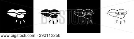 Set Herpes Lip Icon Isolated On Black And White Background. Herpes Simplex Virus. Labial Infection I