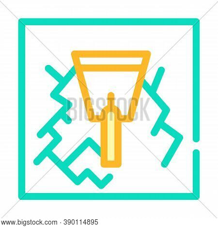 Wall Gaps Plaster Color Icon Vector Illustration