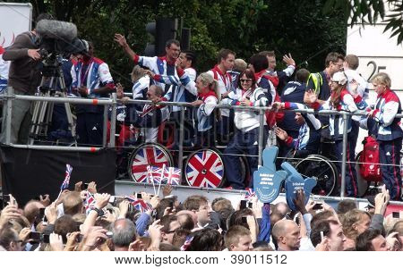 LONDON- SEPT 10: Crowds line the streets of London, to welcome the 2012 British team on their victory parade in on September 10, 2012.
