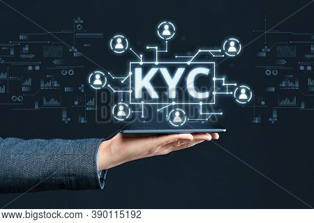 Abstract Digital Display With Concept Image Kyc.