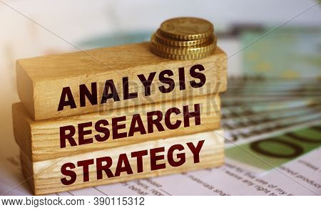 Analysis Research Strategy Words On Wooden Blocks With Copyspace. Market Research In Business Concep