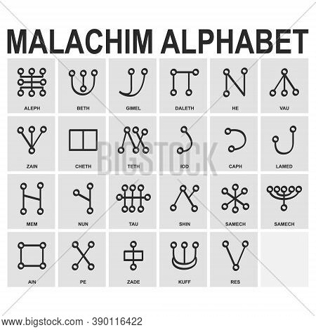 Vector Icon Set With Ancient Occult Alphabet Malachim For Your Project