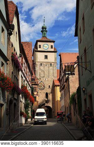 Rotenburg On Tauber, Bavaria, Germany - 12 Sep 2015: The Vintage Tower In Rotenburg On Tauber In Ger