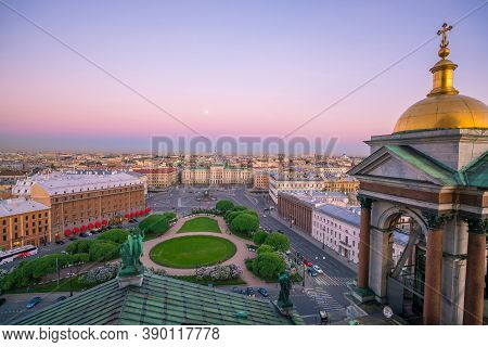 Evening View From The Colonnade Of The Saint Isaac's Cathedral. St.-petersburg, Russia