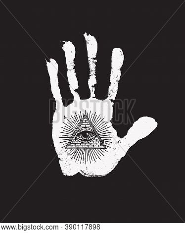 White Print Of A Human Hand With All Seeing Eye Symbol On The Black Background. Vector Hand-drawn Il