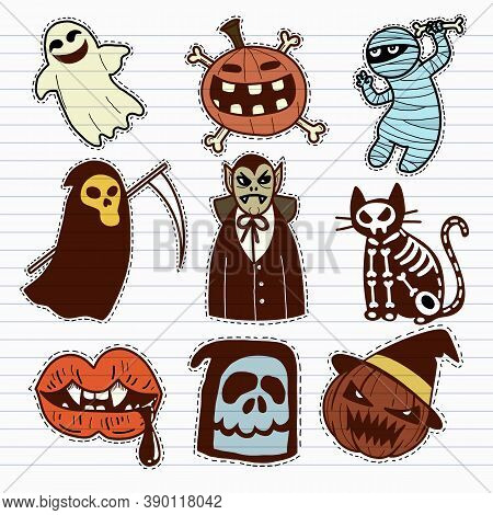 Halloween Icon Set. Hand-drawn Vector Illustration ,it Can Be Used For Halloween Party, Posters, Gre