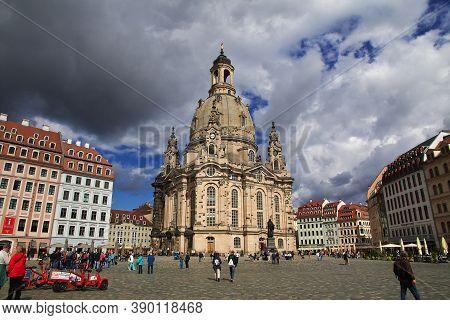 Dresden, Saxony, Germany - 07 Sep 2015: Frauenkirche In Dresden, Saxony, Germany