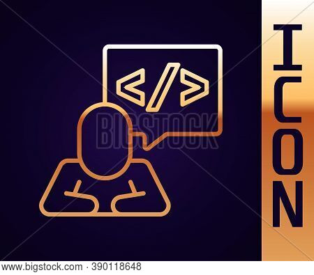 Gold Line Web Design And Front End Development Icon Isolated On Black Background. Vector