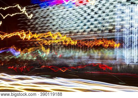 Light Wave Abstract Motion Background. Neon Blur Effect, Blue Energy Dynamic Waveform With Twist And