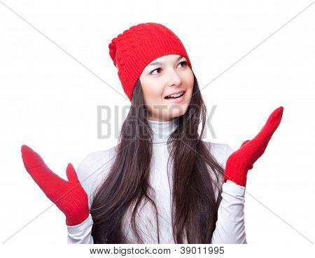 Christmas woman smiles and waved hands