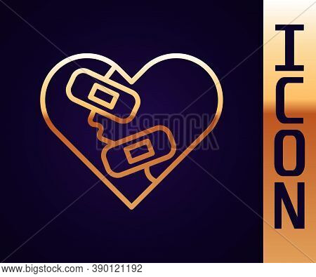Gold Line Healed Broken Heart Or Divorce Icon Isolated On Black Background. Shattered And Patched He