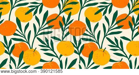 Vector Seamless Pattern With Mandarins. Modern Abstract Design For Paper, Cover, Fabric, Interior De