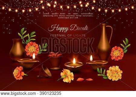 Diwali Festival Banner. Realistic 3d Composition Of Diwali Oil Lamp, Marigold Flowers, Traditional C