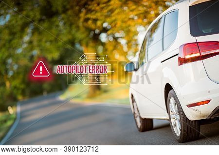 Car Autopilot Software Error Concept. Immobile Intelligent Autonomous Car Due To Software Error Stan
