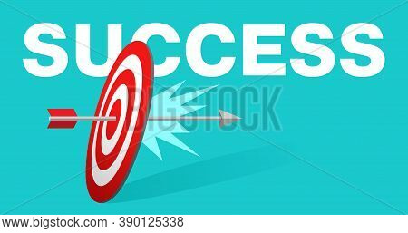 Success Concept - Business Strategy And Targeting Success - Hit In Bulls Eye - Arrow Pierced Archery