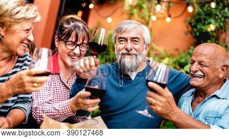Happy Senior Friends Having Fun Toasting Red Wine At Dinner Party - Retired People Drinking At Resta