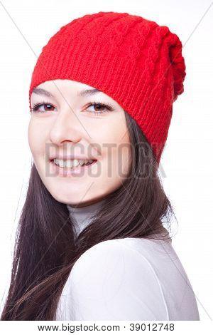 face of  beautiful girl in red cap