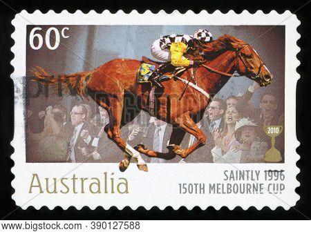 Australia - Circa 2010: A Stamp Printed In Australia Shows The Saintly, 1896 Winner, 150th Melbourne