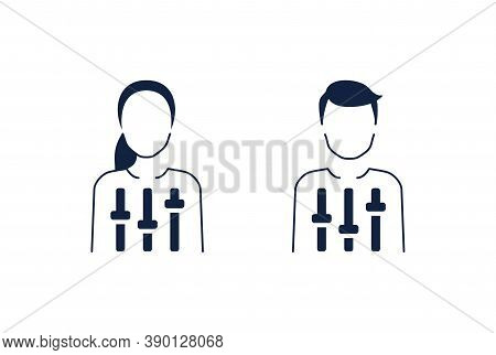 Self Discipline Icon  - Character (man Or Woman) With Settings Controller Inside - Personal Behavior