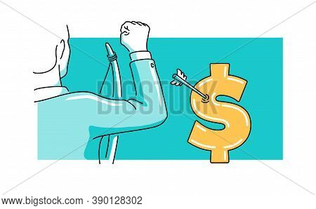 Business Financial Success Concept - Drawn Happy Businessman Hit The Target In Dollar Sign Form With