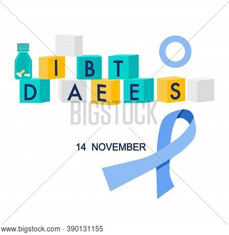 World Diabetes Day Illustration.cubes With Disease World And Lump Sugar.awareness Ribbon And Pills.d