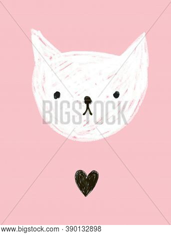 Cute Baby Cat Vector Illustration. Infantile Style Hand Drawn White Kitty Isolated On A Pastel Pink