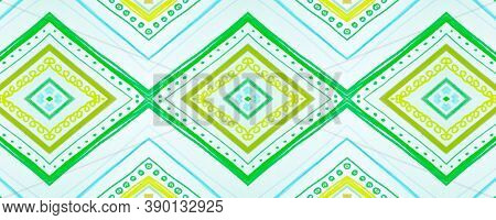 Seamless Tribal Background. Green Mexican Ethnic Pattern. Drawn By Pen Aztec Texture. Geometric Bohe
