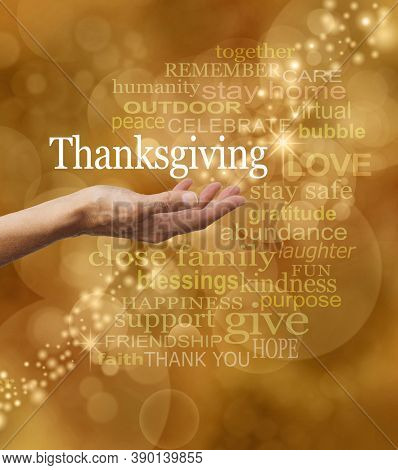 Stay Safe Stay Home Covid Word Cloud Thanksgiving Concept - Female  Open Palm Surrounded By Words As