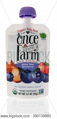 Winneconne, Wi - 16 October 2020:  A Package Of Once Upon A Farm Cold Pressed Mama Bear Blueberry Or