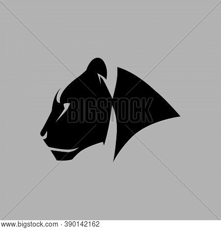 Black Panther Portrait Symbol On Gray Backdrop. Design Element