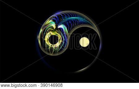 Yin And Yang Button, Icon Isolated On Black Background, Decorated Luminescence Fantastic Peacock Fea