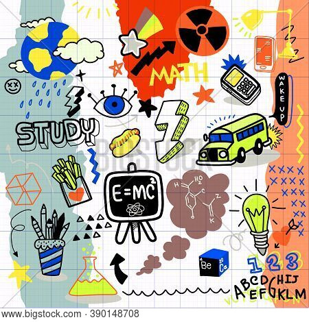 Cute Hand Drawn Doodles, School Clipart. Doodle School Icons And Symbols. Hand Drawn Studying Educat