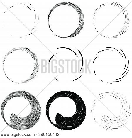 Circular Spiral, Swirl, Twirl Design Element. Concentric, Radial And Radiating Burst Of Lines With R