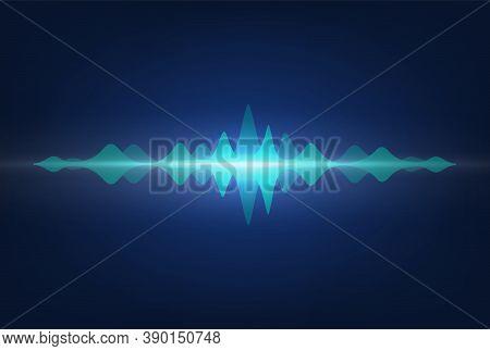 Sound Waves. Frequency Audio Signal Amplitude. Neon Wavy Highs On Recorder Display. Media Technologi