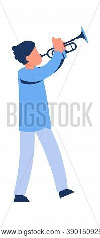 Cartoon Man Playing The Trumpet. Male With Musical Instrument. Cute Artist Solo Performance, Musicia
