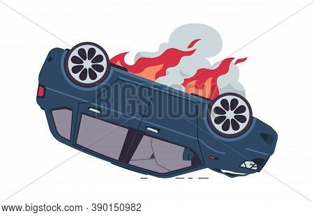 Burning Car. Cartoon Auto Accident, Inverted Car With Fire. Damaged Vehicle, Broken Windows And Dark