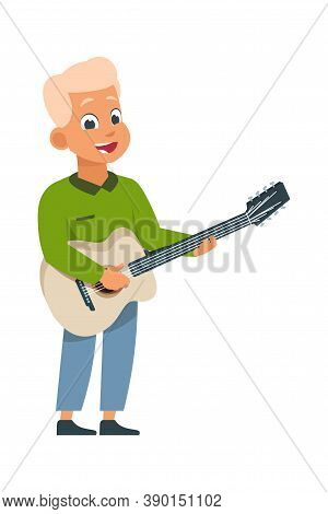 Cartoon Boy With Guitar. Children Playing Musical Instrument At Home, Class Or Performance. Music Ed