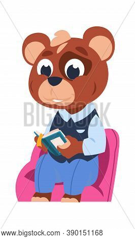Funny Bear Character. Cute Cartoon Animal Reading Book. Little Forest Citizen Sitting And Studying.