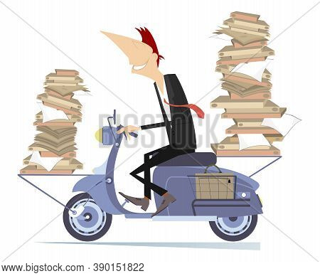 Young Man Carries Papers Or Books By Scooter Illustration. Smiling Man With Piles Of Documents Or Bo