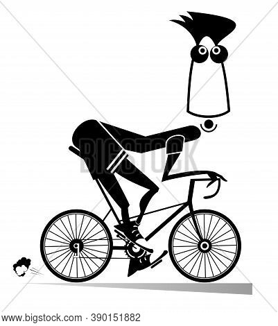 Cartoon Man Rides A Bike Illustration. Funny Man Rides A Bike And Looks Healthy And Happy Black On W