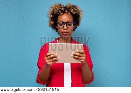 Woman Holding And Using Digital Tablet Browsing Social Network, Reading News, Enjoying Modern Gadget