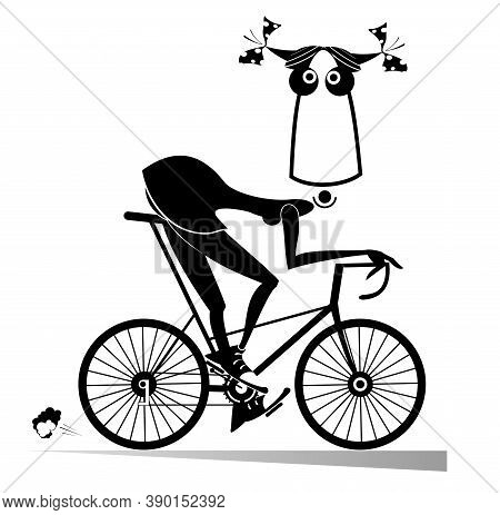 Cartoon Woman Rides A Bike Illustration. Funny Girl Rides A Bike And Looks Healthy And Happy Black O