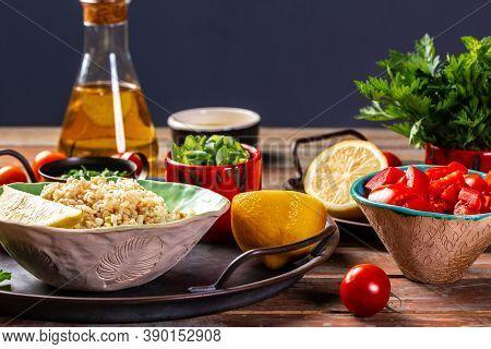 Ingredients For Cooking Tabbouleh Levantine Vegetarian Salad. Traditionally Food Levantine Vegetaria