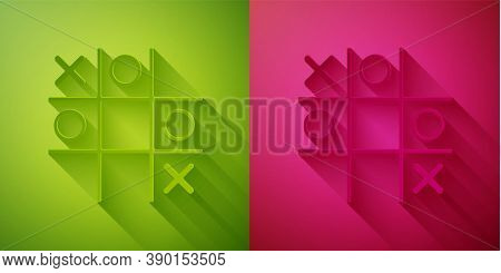 Paper Cut Tic Tac Toe Game Icon Isolated On Green And Pink Background. Paper Art Style. Vector