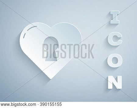Paper Cut Heart With Keyhole Icon Isolated On Grey Background. Locked Heart. Love Symbol And Keyhole